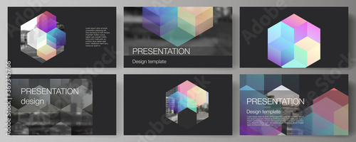 Obraz na plátně Vector layout of the presentation slides design business templates, multipurpose template with abstract shapes and colors for presentation brochure, brochure cover, business report