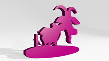 GOAT Made By 3D Illustration Of A Shiny Metallic Sculpture With The Shadow On Light Background. Animal And Farm