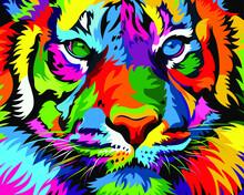 Multi-colored Art Tiger. Vecto...