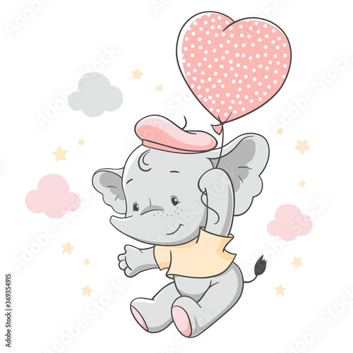 Obraz Vector hand drawn illustration of a cute baby elephant floating with a pink balloon. - fototapety do salonu