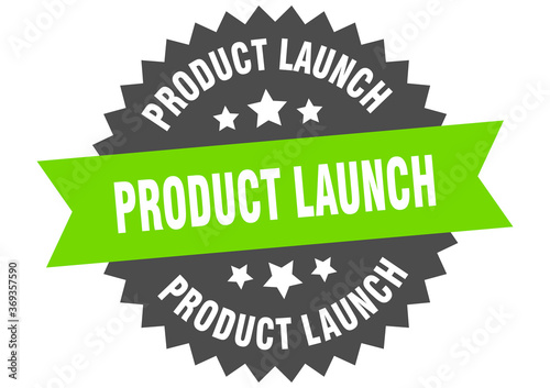Photo product launch round isolated ribbon label. product launch sign