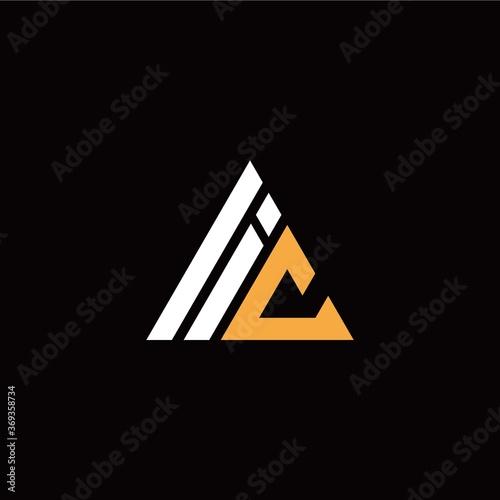 Fotografie, Tablou I C initial logo modern triangle with black background