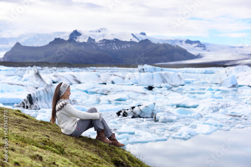 Iceland tourist enjoying Jokulsarlon glacial lagoon Canvas