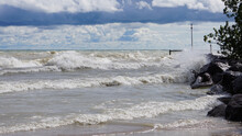 High Winds Churn Up Waves On Lake Michigan's Illinois Shoreline. The Water Was Closed At Local Beaches Due To Rough Surf.