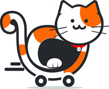 Cat On The Shopping Cart Vector