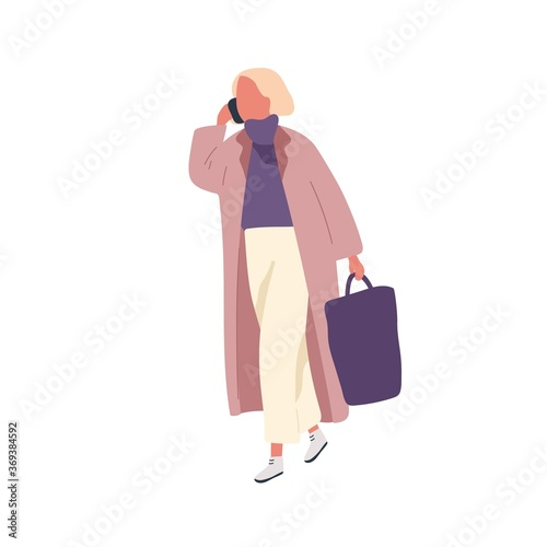 Obraz Busy fashion female talking smartphone carry handbag vector flat illustration. Woman in trendy outfit walking outdoor use mobile isolated on white. Girl in warm coat going on street at spring season - fototapety do salonu
