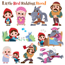 Vector Illustration Of Cartoon Characters Little Red Riding Hood Fairy Tale.