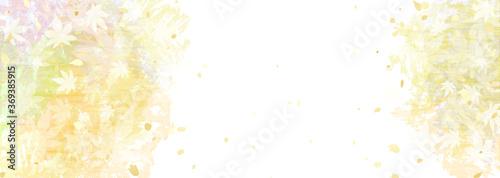 秋のモミジと黄色系グラデーションの和紙風背景