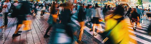 Billede på lærred People and traffic cross the famous scramble intersection in Shibuya, Tokyo, Jap