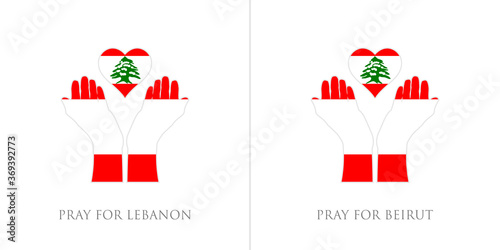 Obraz pray for lebanon and pray for beirut vector illustration. lebanon flag from massive explosion. design for humanity, peace, donations, charity and anti-war - fototapety do salonu