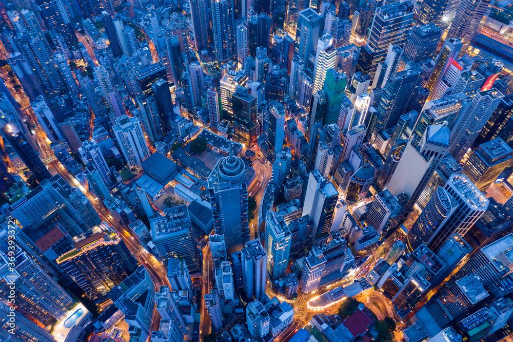 Fototapeta Top view of Hong Kong city at evening
