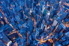 Top View Of Hong Kong City At Evening