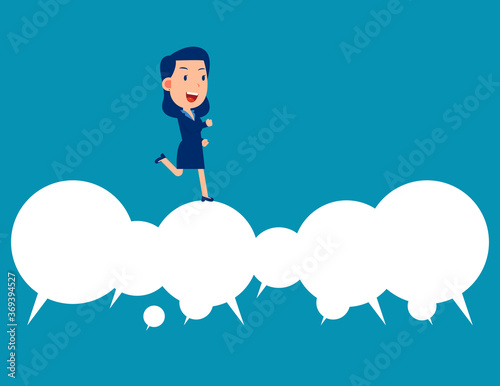 Photo Business happy person running over speech bubble