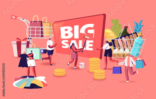 Obraz Big Sale. Characters Shopping at Seasonal Discount. Cheerful Shopaholic People with Trolley Full of Purchase and Grocery - fototapety do salonu