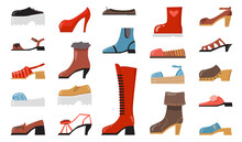 Various Fashionable Footwear Flat Icon Set. Cartoon Stylish Elegant And Casual Shoes, Seasonal Boots, Summer Sandals Isolated Vector Illustration Collection. Fashion And Footgear Concept