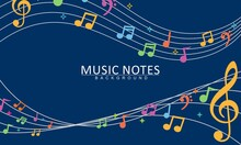 Colorful Musical Notes Music Chord Background