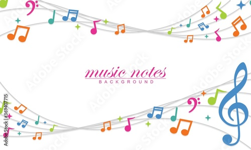 Fototapeta Colorful musical notes music chord background