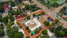 Aerial View Wat Phra That Phanom Temple, Nakhon Phanom Province, Thailand.