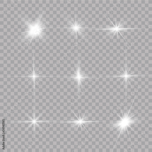 Fototapeta  Shine starlight isolated on transparent background. Glowing light effect.Set of flashes, Lights and Sparkles on a transparent background. Bright gold flashes and glares. obraz na płótnie