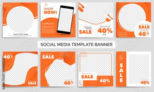 Fotografía Set of Editable minimal square banner template