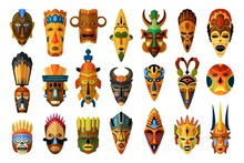African Mask. Vector African Facial Masque. Masking Ethnic Culture In Africa Illustration. Tribal African Mask Set Isolated On White Background. Traditional Ritual Or Ceremonial Masked Muzzle Totem
