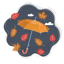 Vector Illustration Of Cool Single Weather, Opened Umbrella In The Dark Sky Falling Leaves Fly Arround. Autumn Concep On Dark.