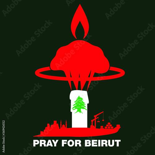 Fototapeta premium Módlcie się za Bejrut. Ikona wspierająca eksplozję w porcie w Bejrucie z kolorami flagi Libanu. Solidarność. Wektor.