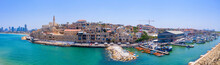 Aerial View Of Jaffa Old City Port With Marina Coastline And General View Of Both Jaffa And Tel Aviv.