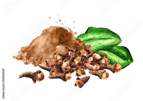 Dried Cloves heap clove powder Fototapete