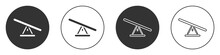 Black Seesaw Icon Isolated On White Background. Teeter Equal Board. Playground Symbol. Circle Button. Vector.
