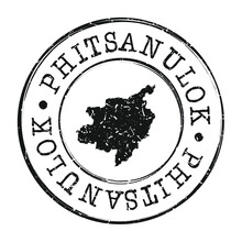 Phitsanulok, Thailand Map Post...