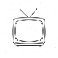 Analogue Retro TV With Antenna And Plastic Body. Outline. Vector Illustration. Television Box For News And Show Translation. Hand Drawn Sketch. Isolated White Background