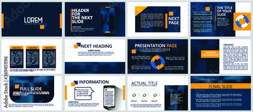 Fototapeta Modern powerpoint presentation templates set for business. Use for modern keynote presentation background, brochure design, website slider, landing page, annual report, company profile, portfolio. obraz