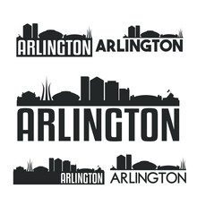 Arlington Texas Flat Icon Skyline Vector Silhouette Design Set.