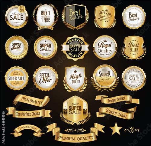Fototapety, obrazy: Retro vintage golden badges labels badges and shields
