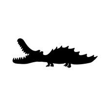 Alligator Black Silhouette. Ve...