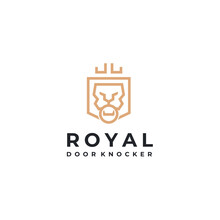 Royal Lion King Gate Door Knocker With Premium Shield Shape For Guard Protect Logo Design