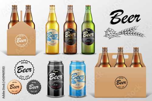 Obraz Realistic set of glass Beer bottle in packaging box on transparent background. Beer template and Tin Can Mockup for restaurant or Bar Branding. Vector illustration. - fototapety do salonu