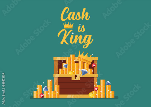 Cash is king typography with open chest full of treasure Fototapete