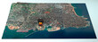 canvas print picture - Satellite view of the city of Beirut in Lebanon. Streets and buildings. Place of the explosion in the port area. Element of this image are furnished by NASA. 3d render