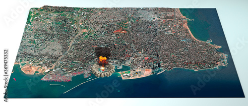 Satellite view of the city of Beirut in Lebanon. Streets and buildings. Place of the explosion in the port area. Element of this image are furnished by NASA. 3d render