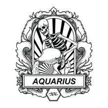Tattoo And T-shirt Design Black And White Hand Drawn Aquarius Skull Zodiac Engraving Ornament Premium Vector