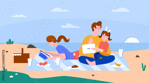 Fotografía Family people on summer beach flat vector illustration