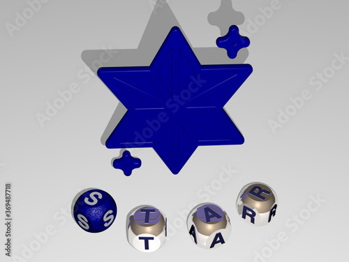 3D illustration of STAR graphics and text around the icon made by metallic dice letters for the related meanings of the concept and presentations Canvas Print
