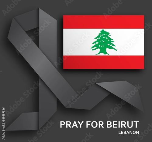 Fototapeta premium Módlcie się o tło Bejrutu z czarną wstążką i flagą