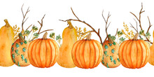Watercolor Hand Drawn Seamless Horizontal Border With Orange Pumpkins Fall Autumn Branches, Wheat, Organic Farmers Food Ingridient. Halloween Thanksgiving Celebration Design Illustration. Harvest