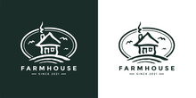 Farmhouse Logo Icon. Farmland Cabin On Hill Badge. Little Countryside Isolation House Sign. Rural Tiny Home Emblem. Vector Illustration.
