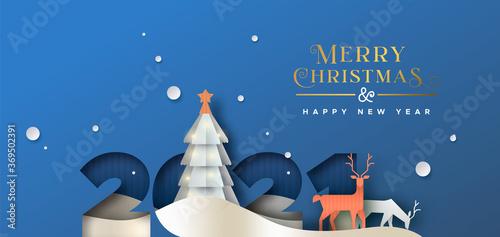 Obraz Christmas New year 2021 paper cut card deer forest - fototapety do salonu