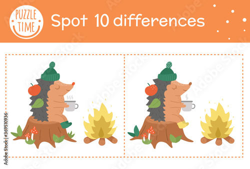 Photo Autumn find differences game for children
