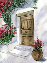 Watercolor Entrance Door With Plats